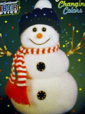 "Vintage! 14"" Fiber Optic ~Ever Changing Multi Color Lights~ Snowman"