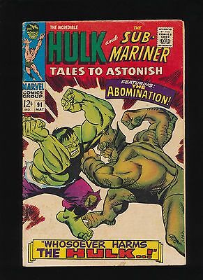 Tales To Astonish #91! 1967 Marvel Comic Key! 1st Abomination Cover! SEE SCANS!
