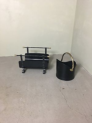 Black Traditional Coal Scuttle With Brass Handle And Log Holder Scuttle