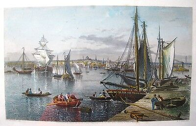 Antique framed print picture. Boston New York Harbour Boating Ships Sea Nautical