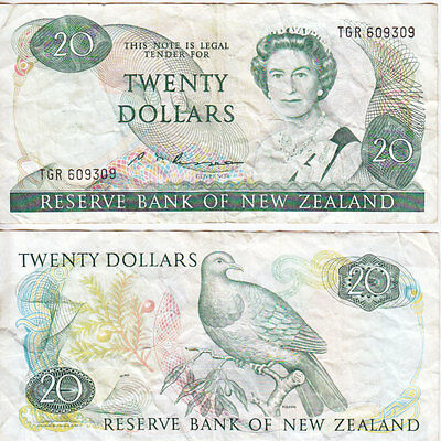 1985-89 20 Dollar banknote from New Zealand in Very Fine Condition.
