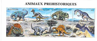 Guinea-Conakry - Prehistoric Animals,  1999 - Sc 1526 Sheetlet of 8 MNH
