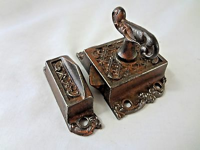 Vintage Eastlake Style T-Handle Iron Cabinet Latch w/ Keeper- Copper-Color Fin.