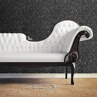 Black Textured Sparkle Walllpaper - Muriva 701353 New Top Quality