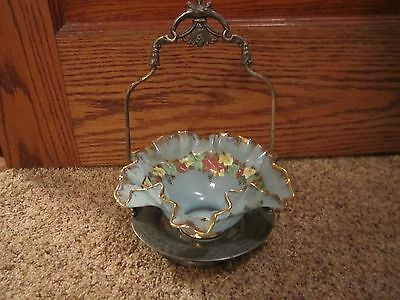 Beautiful Vintage Glass Brides Basket Bowl & Holder!!!!!