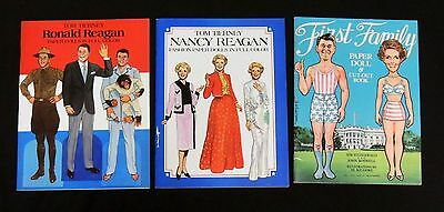 ESL1381 VINTAGE Lot of 3: Nancy and Ronald Reagan Cut-Out Paper Doll Books 1980s