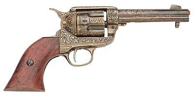 """Authentic Old West  M1873 Fast Draw 10.5"""" Revolver Gold Engraved Non-Firing Gun"""