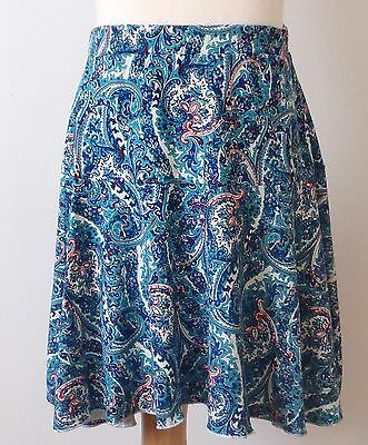 Girls above knee length skater printed stretch blue pink skirt size 7-16 years