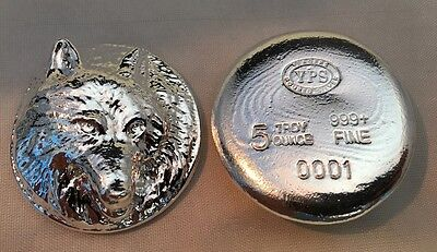 "5oz YPS ""Wolf"" 999+ fine silver bullion bar ""Yeager's Poured Silver"""