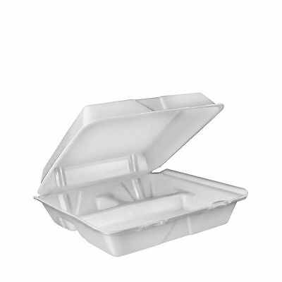 """200 Large White 3 Compartment Hinged Takeout Food Containers 9.375"""" x 9"""" x 3"""""""