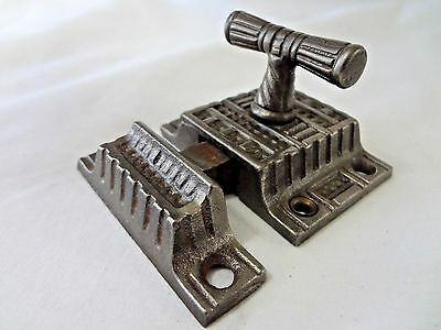 Vintage Eastlake Style T-Handle Iron Cabinet Latch w/ Keeper - Geometric Pattern