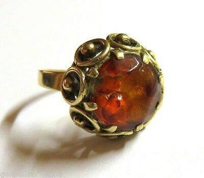 Art Déco 585 Gold Ladies ring with genuine amber  舊金黃色環琥珀