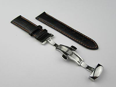 20/22Mm Black Leather Strap For Omega With Orange Stitching And Deployment Clasp