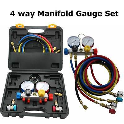 A/C Manifold Gauge Set 5FT Colored Hose Air Conditioner R404a R134a R407C HVAC