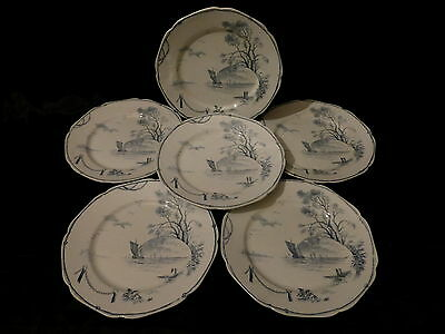 "6 assiettes plate service ""marines"",gien??"