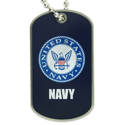 100 Pack- PinMart's U.S. Navy Military Dog Tag ID Necklace w/ Chain