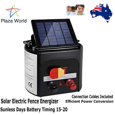 Lightweight Solar Power Electric Fence Energiser Energizer Charger 8Km/0.3J