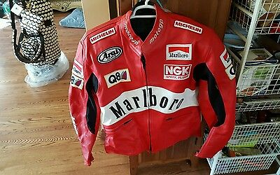 Customized Motogp Motorcycle Leather Racing Jacket Size 54/medium W/saftey Pads