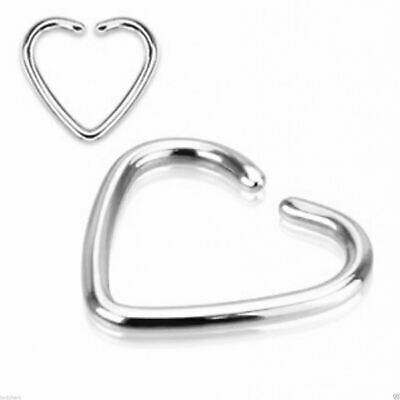 Heart Daith Piercing Surgical Steel Cartilage Rook Tragus Helix Ring Bar 20g 8mm