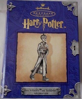 Hallmark Harry Potter Ron Weasley & Scabbers Pewter Ornament New In Box