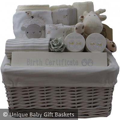 Luxury baby gift basket/hamper 3 pce ceramic gift set & 4 pce clothes set unisex