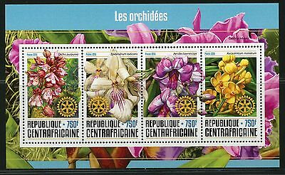 Central Africa 2016 Orchids Rotary International Sheet Mint Nh