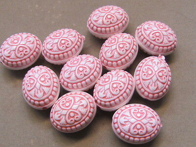 10 Oval Pink White 25x17mm Acrylic Beads(T10K14)