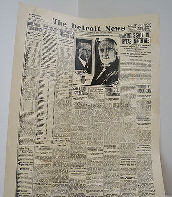 The Detroit News Newspaper November 3, 1920 - Harding Election News Free S&H