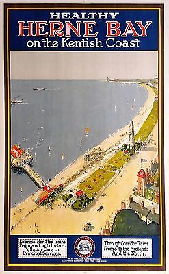 Home Wall Art Print - Vintage Retro Travel Poster - HERNE BAY - A4 ,A3 ,A2 ,A1