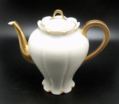 Theodore Haviand Limoges China Coffee Tea Pot Double Gold Encrusted