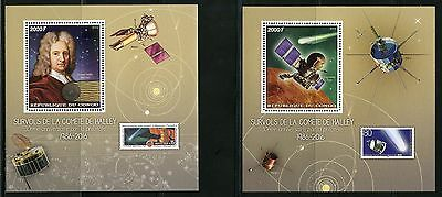 CONGO 2016 30th PHILATELIC ANNIVERSARY OF HALLEY'S COMET SET OF TWO S/S'S   MINT