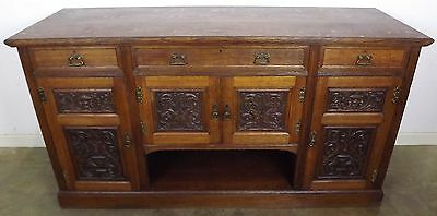 Antique Victorian Solid Oak Sideboard With Carved Panels And Hobbs & Co. Locks