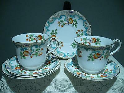 Vintage Breakfast Trios X 2 - Royal Stafford England - Hand Painted - Vg Cond