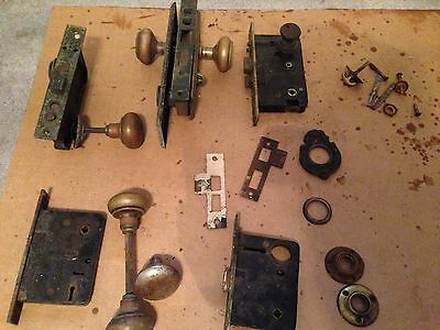 Lot of 5 Vintage/Antique Mortise Door Locks 4 with Push Buttons, Sager, Norwalk