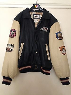 WALT DISNEY CLUB 2001 MICKEY MOUSE GENUINE LEATHER Vintage BOMBER JACKET SIZE S