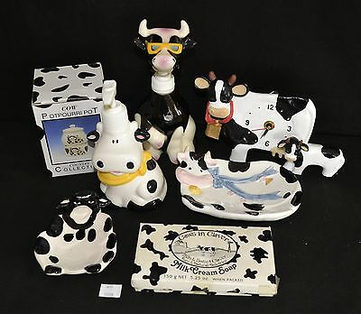 ThriftCHI ~ Ceramic Cow Themed Soap Dishes & Dispensers, Wall Clock, Potpourri P