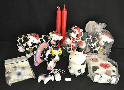 ThriftCHI ~ Vintage Christmas Cow Themed Figural Candles