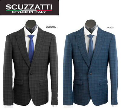 New Arrival Scuzzatti Men's Check/plaid Blue/charcoal One Button Slim Fit Suit