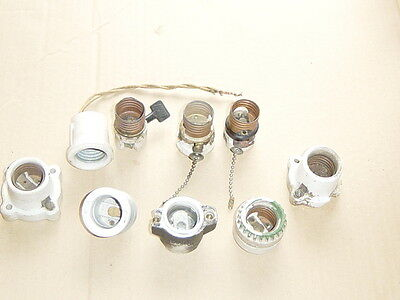 Vintage Lot of 9 Bulb SOCKETS  PORCELAIN Ceramic electric art tool light lamp