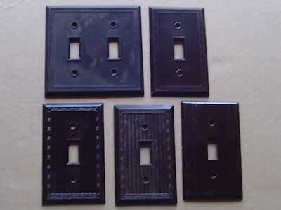 Vintage Lot of 5 RIBBED BAKELITE CS CSA Brown Levit Electric coverplates switch