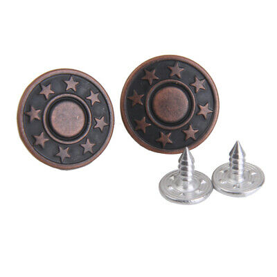 50Set NO-SEW Metal Star Tack Snap Jeans Press Fastener Buttons Copper 17mm