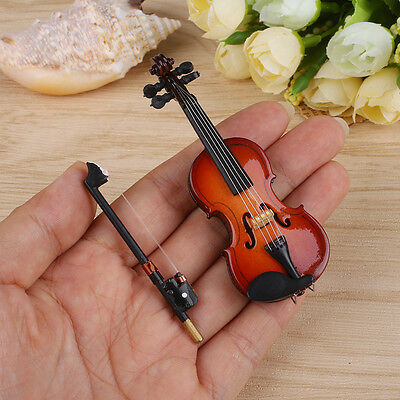 Dollhouse Miniature Wooden Violin with Stand Music Musical Instrument Toy Gift!