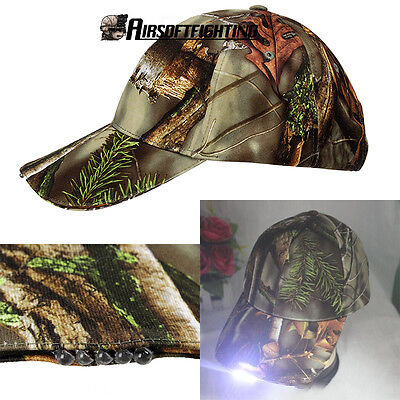 Outdoor Brim Baseball Cap Hat With Led Light for Camp/Fish/Hiking Camouflage