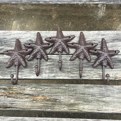 "Lot5 Starfish Style Cast Iron Wall Coat Hooks Hat Hook Hall Tree 4 1/2"" Brown"