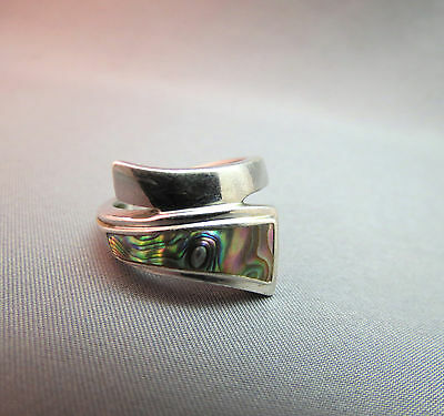VTG KN Sterling Silver Abalone Wrap Around Look Ring 7 Grams Size 9 Marked 925