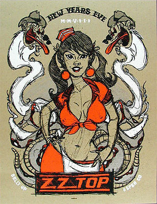 Scrojo ZZ Top New Years Eve 2007 at The Belly Up Aspen Silkscreen Poster