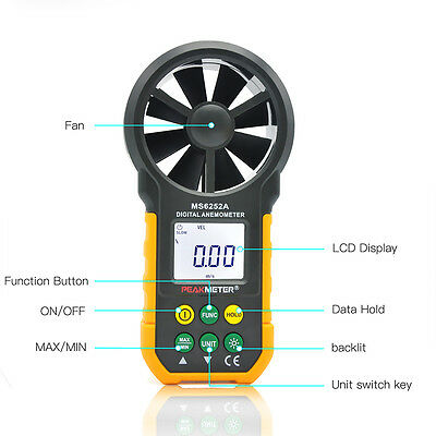 LCD Digital Anemometer Wind Speed Meter Air Flow Tester Backlight HYELEC HC