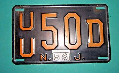 Vintage 1956 New Jersey Union County License Plate  1956 Tab Steel Gauge