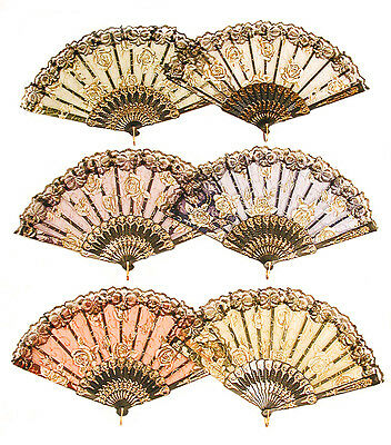Vintage Look Rose Flower Lace Handheld Folding Fan For Dancing, Parties - A230