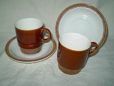 Two Retro 1960's Poole Pottery Duo's With Ribbed Borders ~Like New!!!!